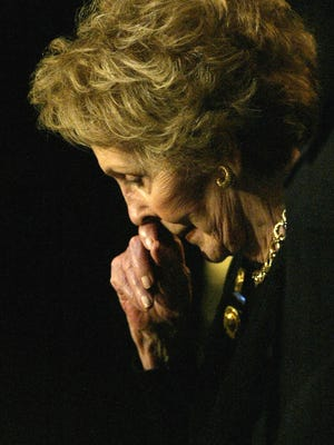 Former first lady Nancy Reagan pauses during the state funeral for former U.S. President Ronald Reagan on Capitol Hill June 9, 2004 in Washington, DC. Reagan passed away on Sunday, March 6th, 2016.