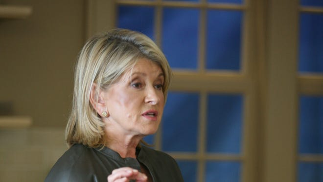 """Martha Stewart does a cooking demonstration and talk about her new PBS television series, """"Martha Stewart's Cooking School"""" at her studio and offices in New York, Sept. 19, 2012."""