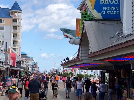 The Ripley's Believe It or Not Shark overlooks the Ocean City Boardwalk. Friday, May 26, 2017.