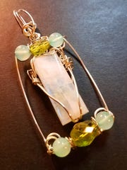 Moonstone from India with peridot and Peruvian blue