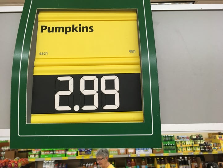 Aldi pumpkins were the cheapest at $2.99