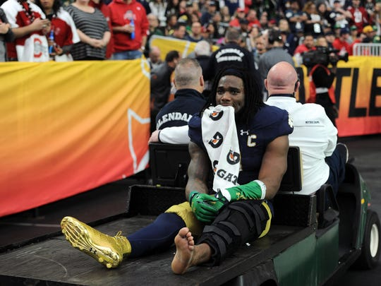 In his final college game, Jaylon Smith suffered a catastrophic knee injury in the Fiesta Bowl against Ohio State.
