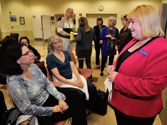 Mahwah Township Council candidate Susan Steinberg meets residents during the meet the candidates forum.