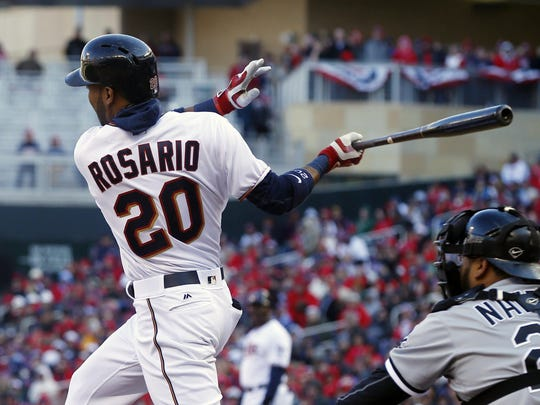 Minnesota Twins left fielder Eddie Rosario swings on a pitch on April 11 against the Chicago White Sox in Minneapolis.