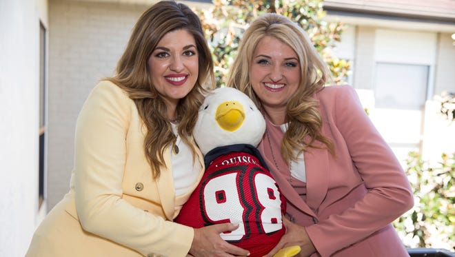 Mia Fontenot and Rachael Curry at the Aflac office in Lafayette.