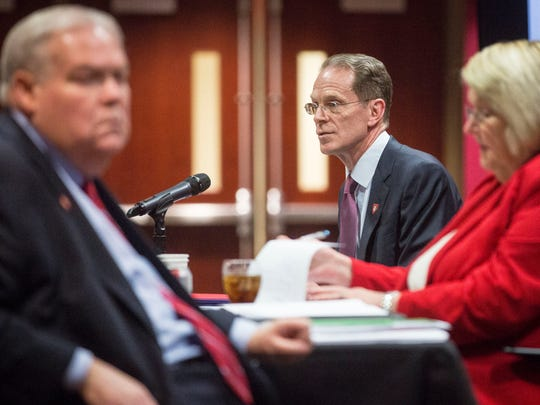 Ball State President Geoffrey Mearns and the board of trustees discuss the takeover of the Muncie Community School district on May 16 during a special meeting on campus. The state legislature passed a resolution during a special session authorizing BSU to take over the district.
