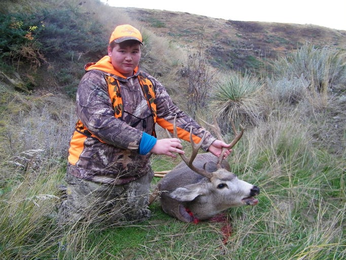 Jacsen Nystrom-Nelson got this 5x5 mule deer buck during
