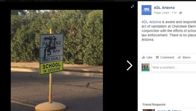 The Anti-Defamation League of Arizona is assisting police after swastikas were found on signs and other surfaces at a Paradise Valley school on Feb. 3, 2017.