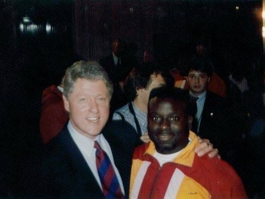 FSU linebacker Kendrick Scott with President Clinton