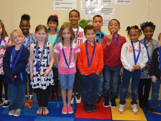 Whitehall Elementary Writers' Guild has new members from kindergarten and grades 1 and 2. They are, from left in the back row, Lily Mize, Nevaeh Brantly, Marie Albert, Braxton Rhone, Najji Lawson-Howard, Jayden Young-Linette and Paris Clemons. From left in the front row are Ryder Coker, Lia Purdy, Skyleigh Smith, Jaden Boyd, Moriah Boseman and Kylen Simmons.