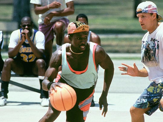"""Wesley Snipes (center) and Woody Harrelson (right) star in """"White Men Can't Jump."""""""