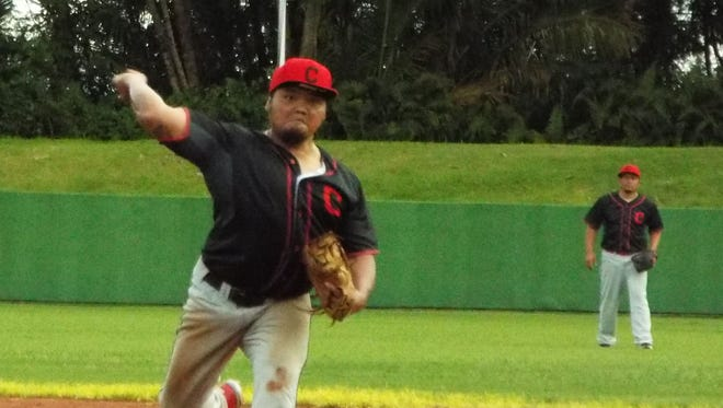 Derwin Aguon notches the win in the AutoSpot Canyons 4-3 victory over the Rays in Amateur Summer Wood Bat League action on Sunday at LeoPalace Resort.