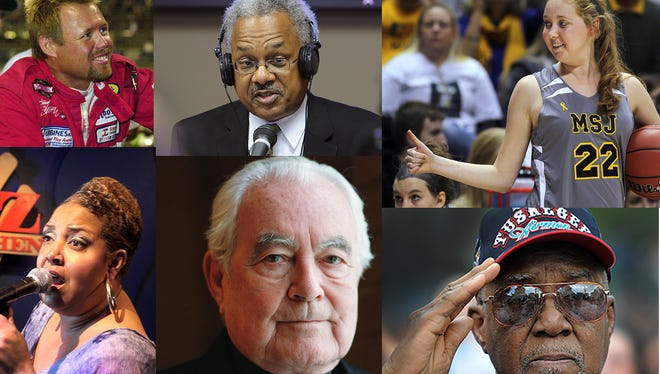 Clockwise from top left: Tony Elliott, Amos Brown, Lauren Hill, Arthur Carter, Father Theodore Hesburgh, Cynthia Lane