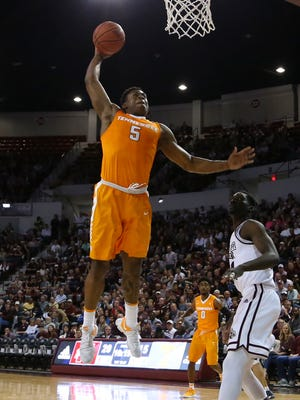 Tennessee Volunteers forward Admiral Schofield (5) goes up for a dunk during the first half against the Mississippi State Bulldogs at Humphrey Coliseum.