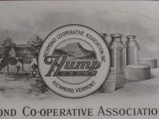 Company letterhead showing the Hump Brand logo in the 1920s. Camels Hump stands as a prominent landmark behind the creamery grounds.