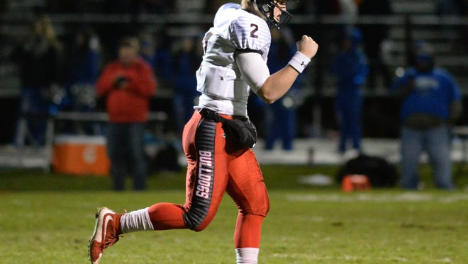 Haddonfield's Jay Foley pumps his fist as the Haddons take a 7-0 in the first half during Friday night's South Jersey Group 2 playoff football game against Sterling. 11.09.17.