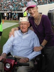 Francis (Dutch) Scholtz, 94, with his wife Barbara in 2012.
