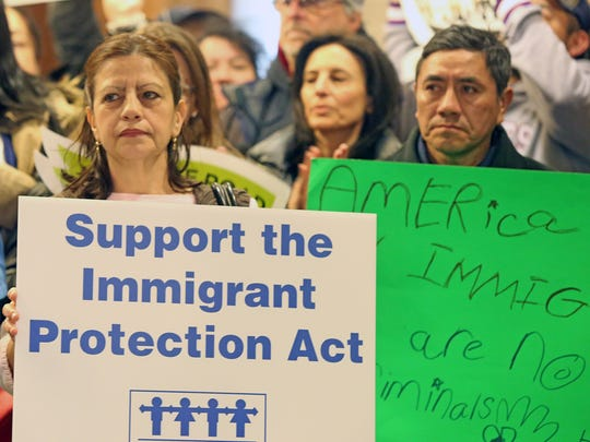 Local lawmakers and activists attend a rally for the Immigrant Protection Act at the legislative chambers in White Plains March 12, 2018. County lawmakers will vote Monday on a bill that would give protections to undocumented immigrants in Westchester.
