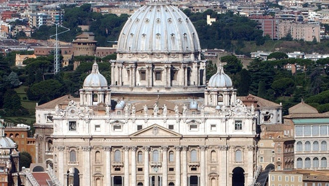 Aerial view of St. Peter's Basilica at the Vatican.