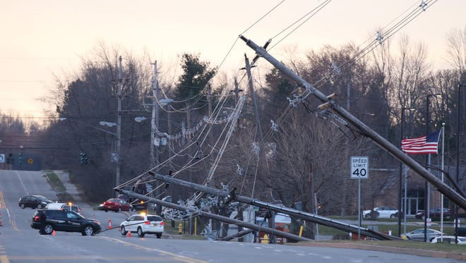 A line of poles on Winton Road south of Brighton Henrietta Townline Road came down in the windstorm on March 9, 2017