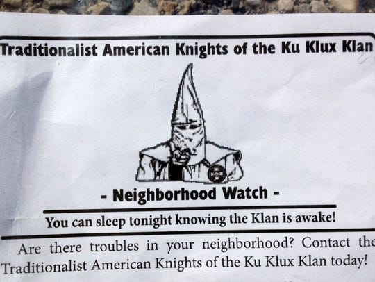 A Ku Klux Klan group distributed fliers to homes in