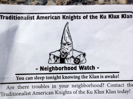Recruitment fliers have been around York County and the region for years. Here, a Ku Klux Klan group distributed fliers to homes in Fairview Township in 2014. The group's leader, Frank Ancona, was killed in the Midwest in 2017.