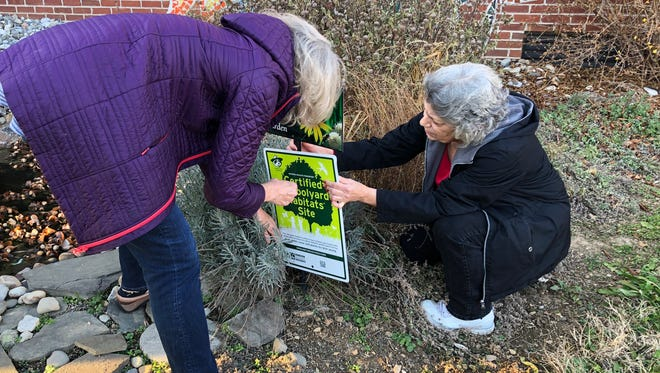 Kem Mirsky, left, attempts to plant a sign by the National Wildlife Federation with the assistance of York City school volunteer Deb Etters at the Goode K-8 courtyard on Tuesday, Dec. 19, 2017.