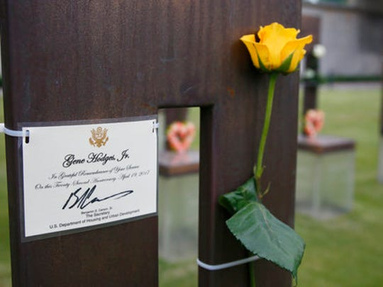 """A memorial card signed by Housing and Urban Development Secretary Ben Carson, M.D., is attached to the chair of Thomas Eugene """"Gene"""" Hodges Jr. in the Field of Chairs at the Oklahoma City Memorial in Oklahoma City, Wednesday, April 19, 2017. Hodges Jr. worked at HUD and was killed in the Oklahoma City bombing. Survivors and family members of those killed in the Oklahoma City bombing will gather for a remembrance service Wednesday, the 22nd anniversary of the attack. Carson is speaking at the 22nd Anniversary Remembrance Ceremony."""
