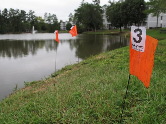 Orange evidence flags line the shore of a pond in the Audubon Lake neighborhood of Durham, N.C. on Tuesday, Sept. 22, 2015. Police say Alan Tysheen Eugene Lassiter attempted to drown his three young children, two of whom remain hospitalized.