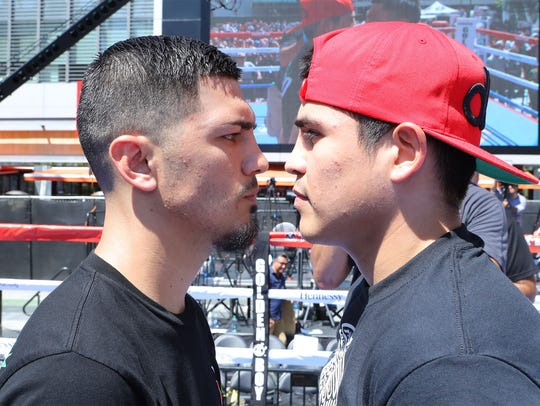 At left, Randy Caballero and Diego De La Hoya get to
