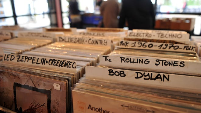 A close-up of vinyl records inside a store on April 15 in Bourges, France.