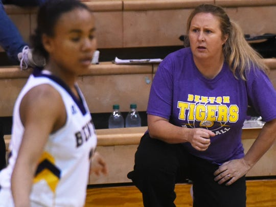 Benton's head coach Mary Ward during their game against  Evangel at Benton High School Thursday evening.