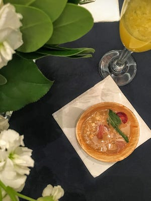 Ryan Rogers served a strawberry gazpacho with country ham at the Atlanta Food and Wine Festival's Sunday Brunch.