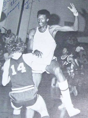 Abdel Anderson, considered the greatest basketball player in Belleville history, here in a 1975 game against Nutley. Anderson is inducted in the school Hall of Fame and had his No. 15 retired in 2011.