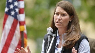 This May 17, 2014 file photo shows Kentucky Democratic Senate candidate Alison Lundergan Grimes speaking in Franklin, Ky.