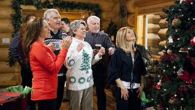"""This image released by Crown Media shows a scene from the Christmas TV movie """"Let it Snow,"""" one of the films to air on Hallmark TV channels for a week, beginning on Independence Day. The stunt on the Hallmark and Hallmark Movie channels continues into the early morning hours of July 15. Mostly, it will be repeats of the holiday movies that Hallmark traditionally airs during the last two months of the year."""