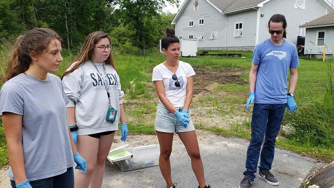 Hammocks Beach State Park sea turtle interns, Mackenzie, Emily, Jennifer, and Ian recently spent their morning training with the wildlife biologist learning about the ins and outs of sea turtles and what they will be doing this summer.