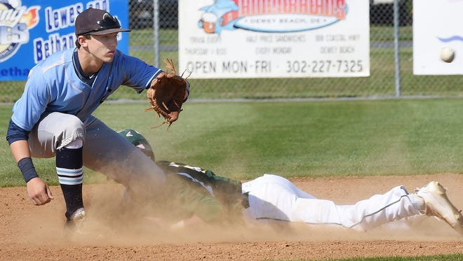 Cape shortstop Zach Gelof takes a throw to second base as a St. Mark's runner slides.