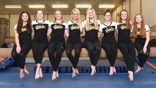 The Tri-Valley High School gymnastics team is heading to the state competition. Team members include, from left, Minh-Chau Scott, Meghan Anderson, Kenzie Nezbeth, Annie Brock, Rylie Sterling, Sophia Perrine, Cameron McCullough and Skyley Jacobs.