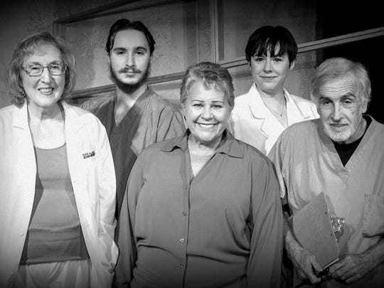"""The cast of Lab Theater's """"Wings"""" (left to right) are Louise Wigglesworth, Steven Coe, Cindy Chase, Rachel Blithe and Patrick Erhardt."""