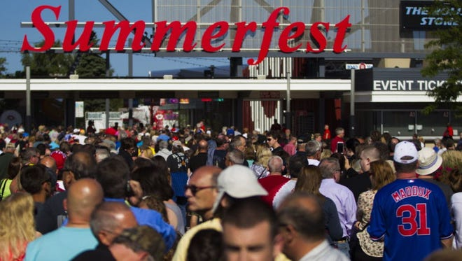 A large crowd gathers outside the Summerfest south gate entrance to see the Rolling Stones in 2015. The Milwaukee festival announced its 2018 headliners Wednesday.