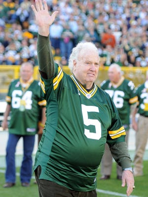 Green Bay Packers 1961 alumni Paul Hornung is introduced at halftime during an Oct. 2, 2011, game at Lambeau Field.