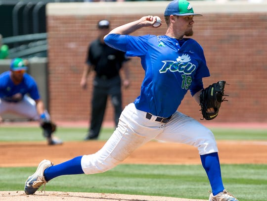 Florida Gulf Coast's Garrett Anderson pitches during