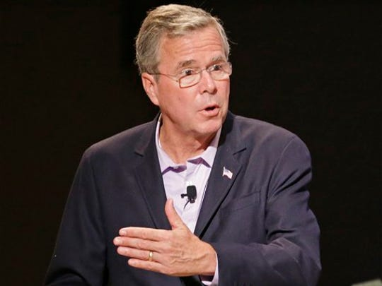 FILE - In this July 27, 2015 file photo, Republican presidential candidate, former Florida Gov. Jeb Bush speaks in Orlando, Fla. Bush's recent poll results earned him a place in the first prime time Republican presidential debate, Thursday.