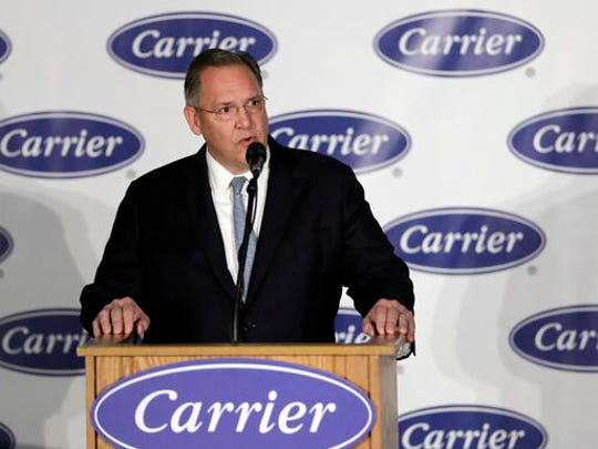United Technologies CEO Greg Hayes speaks at Carrier Corp Thursday, Dec. 1, 2016, in Indianapolis.
