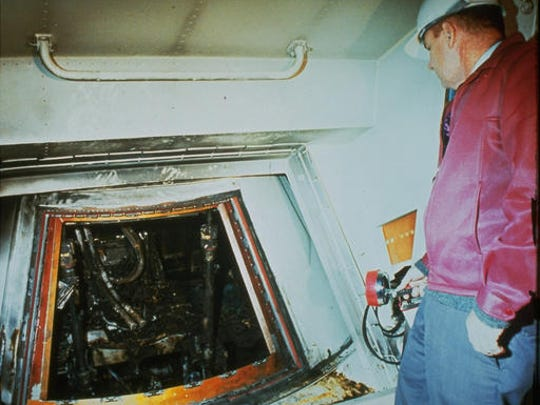 FILE - This 1967 file photo shows the charred interior