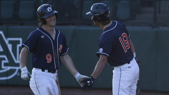 Luke Jarvis and Bowen McGuffin celebrate against Kennesaw State on Wednesday.