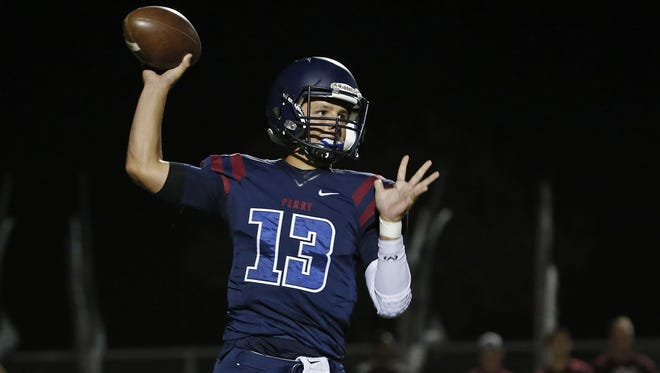 Gilbert Perry's Brock Purdy throws a pass against Chandler at on Oct. 7.