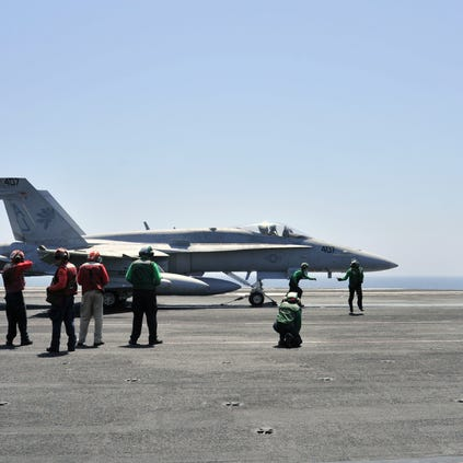 A Navy FA-18 preparing for a raid on IS targets in Iraq in August.