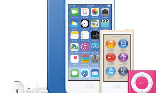 The newest lineup of iPods including the iPod Touch,